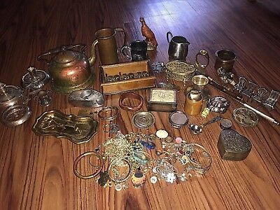 Vintage Mixed Brass Copper Sterling Collectibles Junk Drawer Jewelry Lot Antique