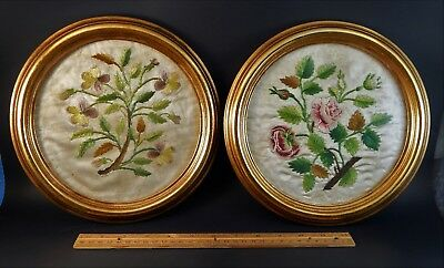 """Pair Antique or Vintage Framed Silk Floral Embroderies 9.5"""" Possibly French?"""