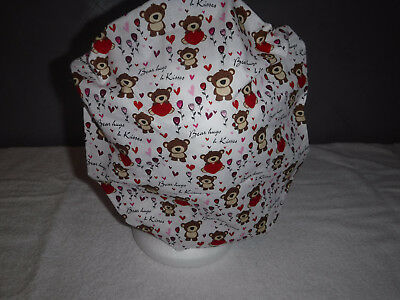 Bouffant surgical scrub hat cap white red heart bear valentines day