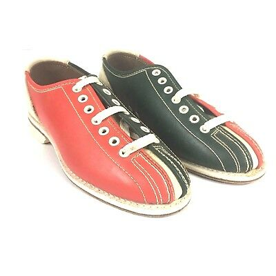 Brunswick Bowling Shoes 5 Vintage Red Green Leather Rental Rockabilly Hipster