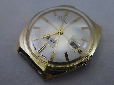 Vintage Agon Swiss Made day/date gold gents watch spares/repairs