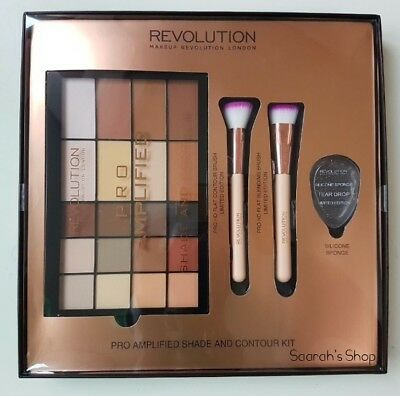 New Makeup Revolution Pro Amplified Shade And Contour Kit Brushes Sponge Set