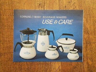 Vintage Corning Ware Beverage Makers Use and Care Manual, Ephemera