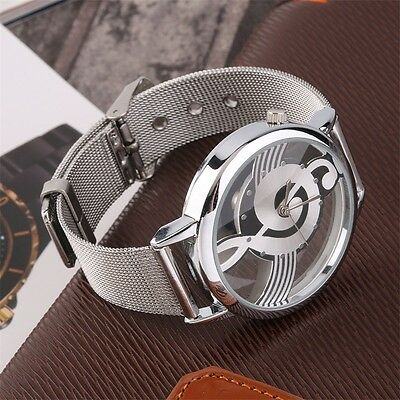 New Music Note Design Unisex Watches Steel Strap Analog Quartz Wrist Watch B SF