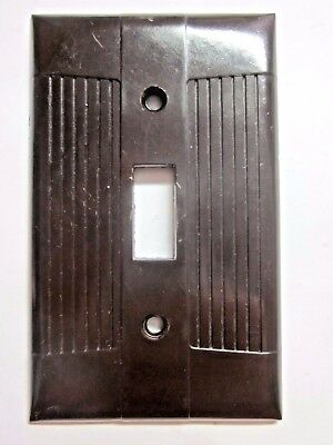 1 Vintage Art Deco Classic Eagle Tuxedo Ribbed Brown Bakelite Switch Plate Cover