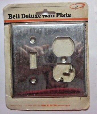 Vintage Bell retro shiny chrome plated 2 gang switch outlet combo plate cover