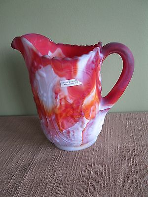 Vintage*RED ORANGE SLAG*PITCHER*WINDMILL*Creamer*swirl*Glass*White*flower*3-D