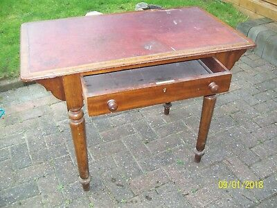 Small leather topped writing/hallway desk with drawer - restoration project