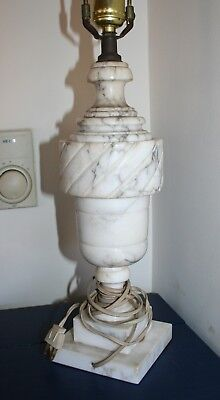 """Antique Vintage Italian Carved White Marble Alabaster Table Lamp 26.25"""""""