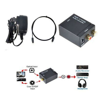 Digital Optical Coaxial Toslink Signal to Analog Audio Converter Adapter RCA AQ0