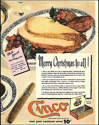 1945 vintage Christmas Tobacco AD CINCO American Cigars Olmstead Hotel 071617