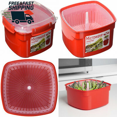 Sistema Microwave Medium Steamer with Removable Basket, 2.4 L - Red/Clear