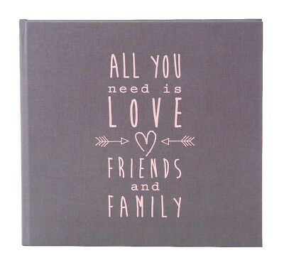 High quality wedding guest book. Grey & Pink guest book. Love design. 88 pages.