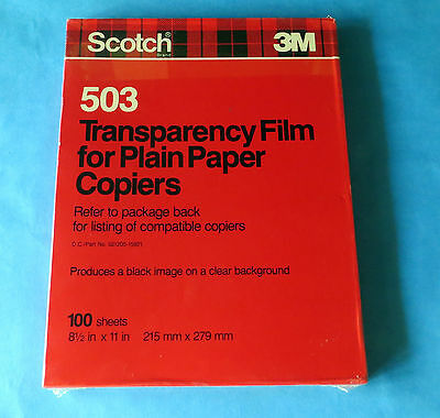 SCOTCH 3M TRANSPARENCY FILM ~ Plain Paper Copiers ~ 100 Sheets ~  #503 ~ NEW !!