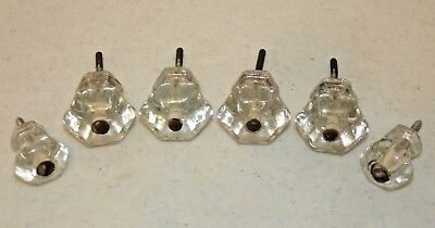 """6 Antique CLEAR GLASS DRAWER KNOBS Pulls, 4 Larger 1-1/2"""" and 2 Smaller 1-1/8"""""""