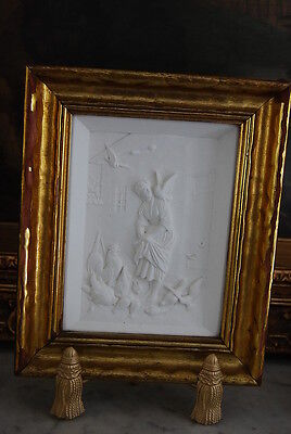 Early Original H. G. Framed White Plaster Wall Plaque Woman & Chicken Buffalo Ny