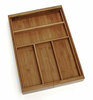 KItchen Drawer Organizer Expandable Silverware Tray Utensil Bamboo Wood Cutlery