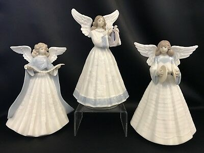 """Lladro """"3 Piece Set Tree Toppers Angels"""" Christmas(5719,5830,5876 All Mint)"""