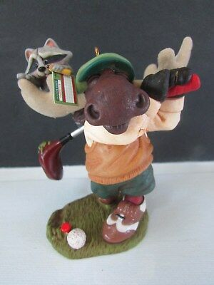2008 Hallmark Keepsake Ornament  In the Holiday Swing  Merry Moose Racoon  Golf