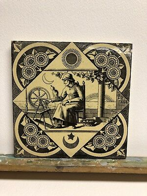 Vintage T H Boote Pictorial Transfer Tile 1883 Seven Ages Man