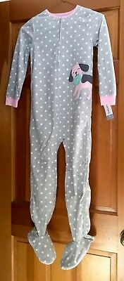 Carters girl one piece footed/feety pajama size 7 NWT Gray Polka Dots w/ a dog