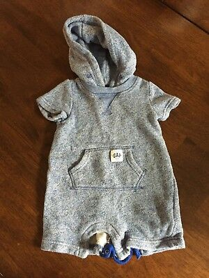 Gap Blue Short Sweatsuit Unisex with Hood and Front Pockets, Size 6-12 months