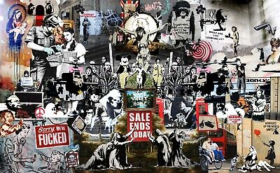 Banksy Graffiti Collage Canvas Picture Poster Print Wall Art,  Unframed #a6