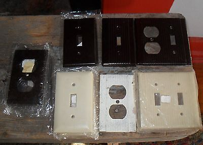 Vintage 19 Switchplate & Outlet Covers Mixed Brown & Ivory Some Ribbed NOS