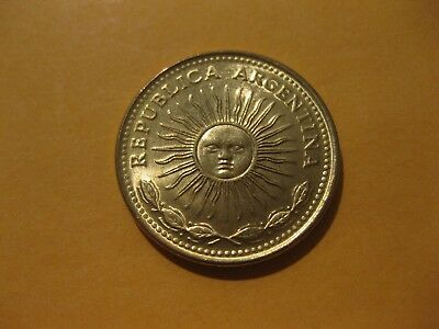 "1977  Argentina Five Peso coin  ""BLAZING SUNFACE""  BU coins  sweet very nice"
