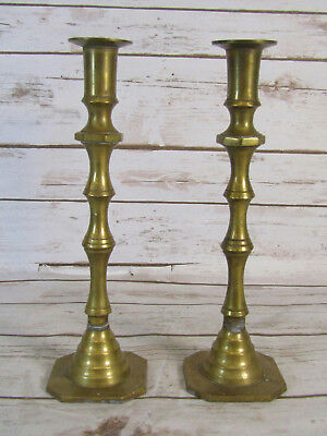 """Pair Of Vintage Collectible Solid Brass Candlesticks 11"""" Tall"""
