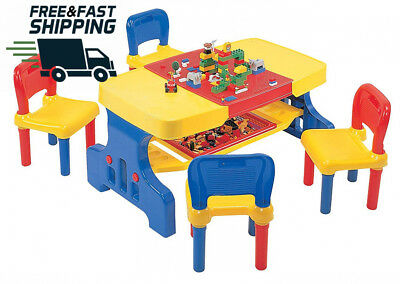Kids Toys Children's Picnic Table With Building Block Top And Chairs Bright
