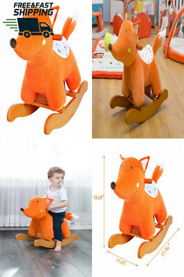 Labebe Baby Rocking Horse Wooden, Plush Toy, Orange Fox for 1-3 Years, Child...