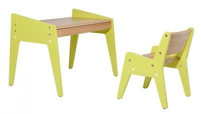 Indoor Solid Natural Beech Wood Kids Table And Chair Set Adjust Creative Stylish