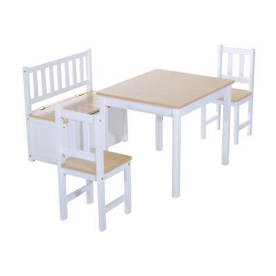Wooden Children Table 2 Chairs Toy Storage Bench Seat Seating Sturdy Strong Wood