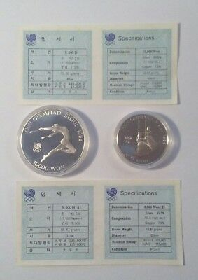 Sterling Silver Commemorative Rounds Seoul Olympics 1988 1 & 1/2 Ounces Sterling