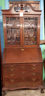 1930's Madox Mahogany Slant Front Desk W/Hutch-Serpentine Front-Ball and Claw Fe