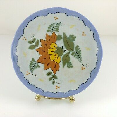 Vintage Royal Zuid Holland Gouda Butter Bread Plate Hand Painted Floral
