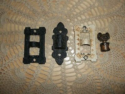 Antique Cast Iron Lamp Holders Jm-2A Fancy Victorian 1800's Wall Plate Brackets