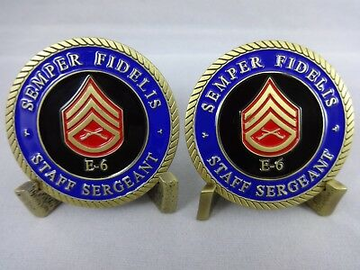 Defective Set of two USMC SSgt Staff Sergeant E-6 Challenge Coins Marine damaged