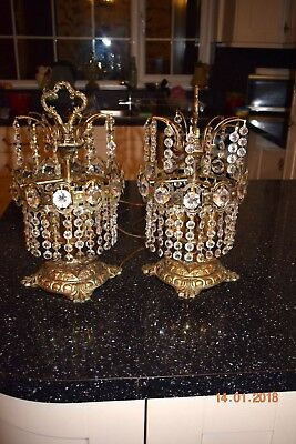 Beautiful Old Pair French Crystal  Boudoir Lamps Superb