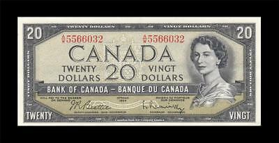 1954 BANK OF CANADA QEII $20 **Beattie & Rasminsky** (( aUNC/UNC ))