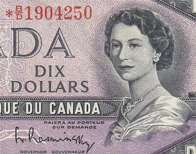 1954 Bank Of Canada Qeii $10 **star Note** (( Ef ))