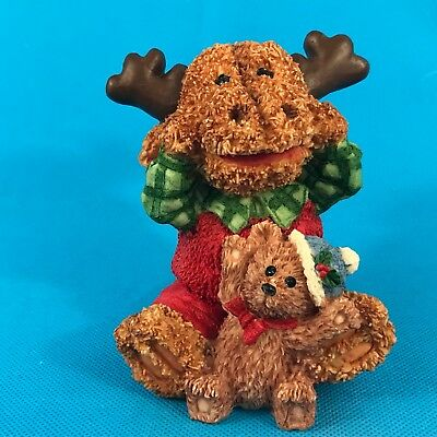 Christmas Holiday Moose Resin Figurine in Red/Green w/ Teddy Bear K's Collection
