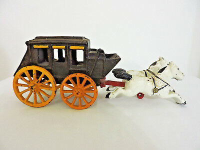 Antique Cast Iron Stage Coach with Horses