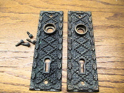 Ornate Pair Brass ? Bronze ? Door Knob Escutcheons..backplate.door Plate Nice
