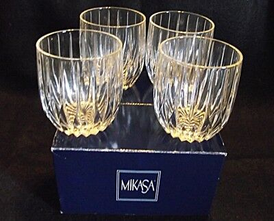 """DISC Mikasa PARK LANE 4"""" Executive Double Old Fashioned NEW SET OF 4 IN BOX"""