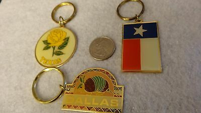 """Texas"" Themed Key Chains Pack of 3 Vintage (80's) Unused ! Old Inventory"