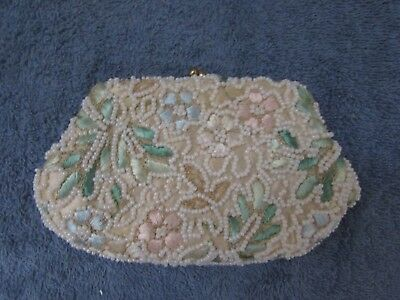 Vintage Beaded Change Purse Tambour Embroidered Floral Design