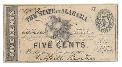 $.05 Cent - Civil War Note - The State of Alabama - Montgomery - Jan. 1st 1863