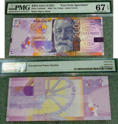 "Switzerland ""test Note Specimen"" Jules Verne  Pmg 67 Epq Superb Gem Uncirculated"